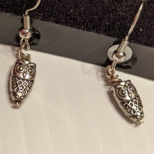 NEW OWL DANGLE EARRINGS Handmade Silver